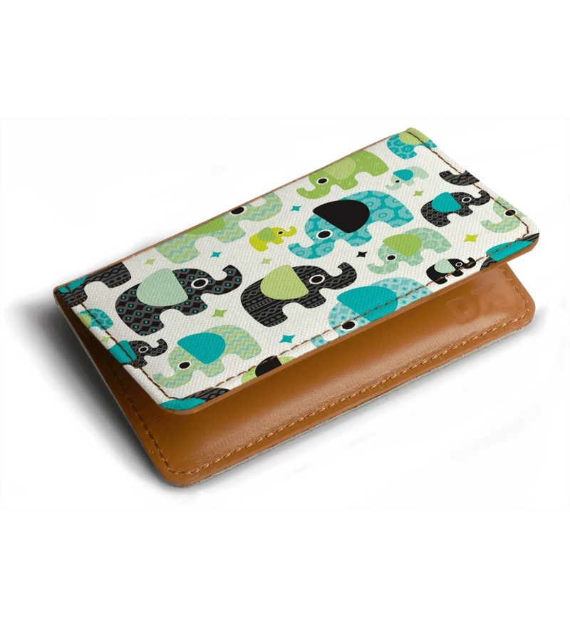 DailyObjects Blue Aztec Elephant PolyCotton Card Holder