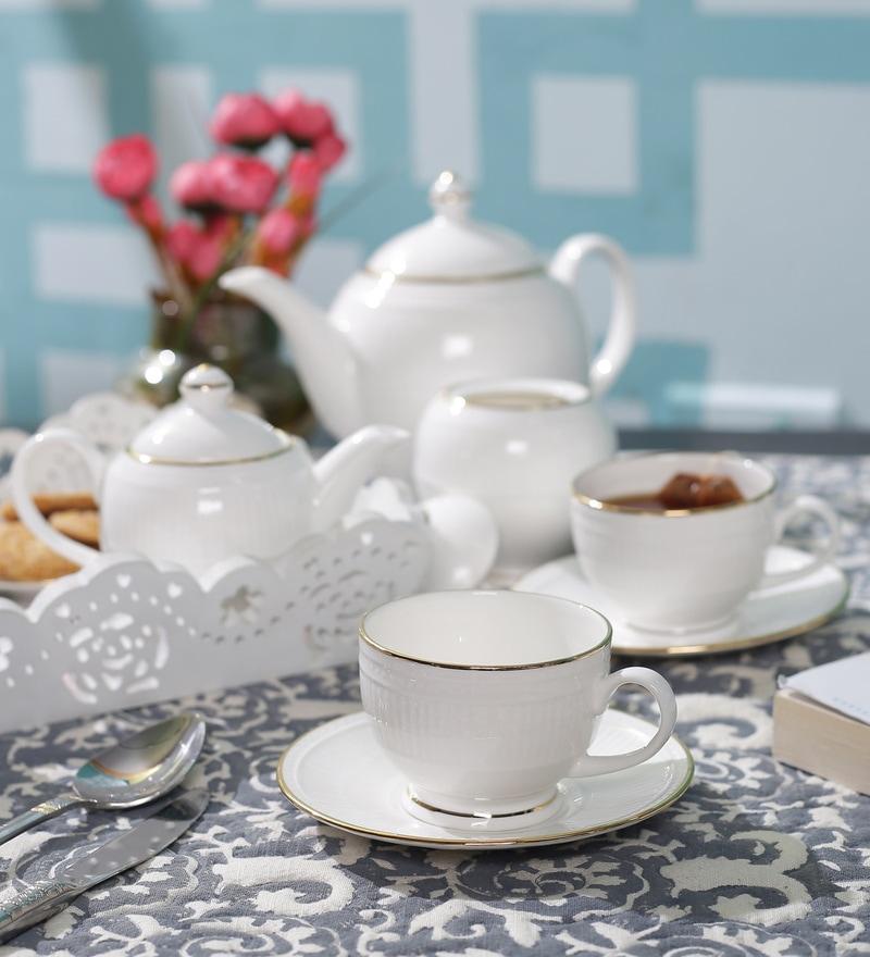 Dandy Lines Crown Gold Bone China Tea Set - Set of 15