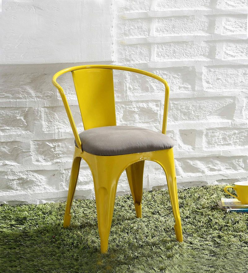 Danlou Metal Chair with Cushion in Yellow Color by Bohemiana