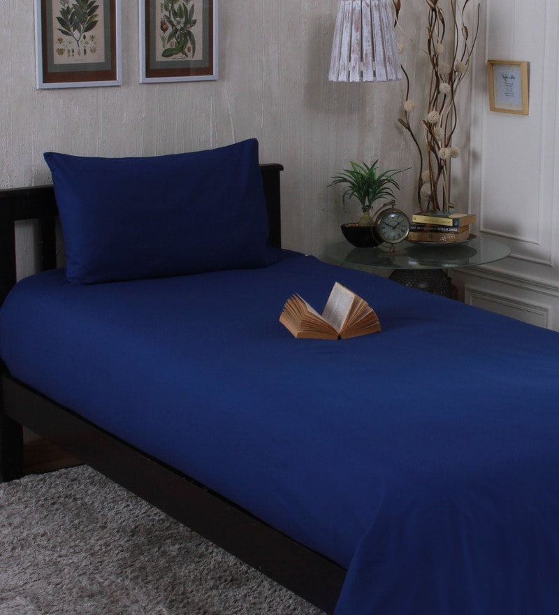 Dark Blue Cotton Single Size Bedsheet - Set of 2 by Milano Home