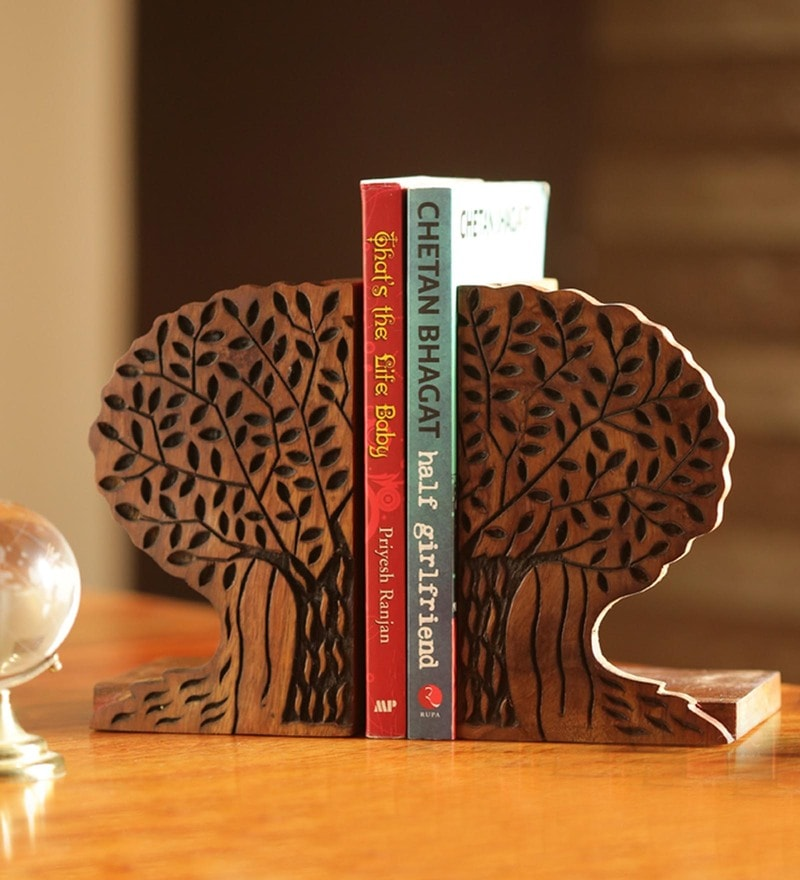 Dark Brown Sheesham Wood Tree of Life Book End Book End by ExclusiveLane