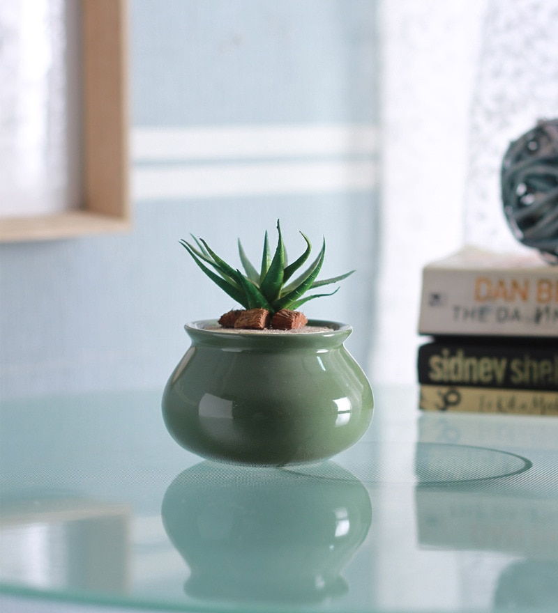 Dark Green Ceramic Glazed Matki Shape Planter by Decardo
