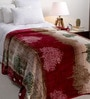 Daffodils Maroon Poly cotton Single Size Blanket