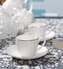 Dandy Lines Classic Small 140 ML Bone China Cups & Saucers - Set of 6