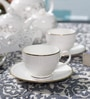 Dandy Lines Crown 190 ML Bone China Cups & Saucers - Set of 6