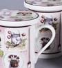 Dandy Lines Panama Pink 330 ML Bone China Mug with Coaster - Set of 4