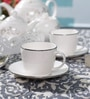 Dandy Lines Royal Silver 200 ML Bone China Cups & Saucers - Set of 6