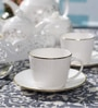 Dandy Lines Royal Gold 200 ML Bone China Cups & Saucers - Set of 6