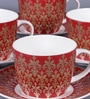 Dandy Lines Royal Bud 200 ML Bone China Cups & Saucers - Set of 6