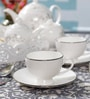 Dandy Lines Yana Silver 170 ML Bone China Cups & Saucers - Set of 6