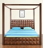 David Queen Size Poster Bed with Storage in Dark Walnut Finish by @Home