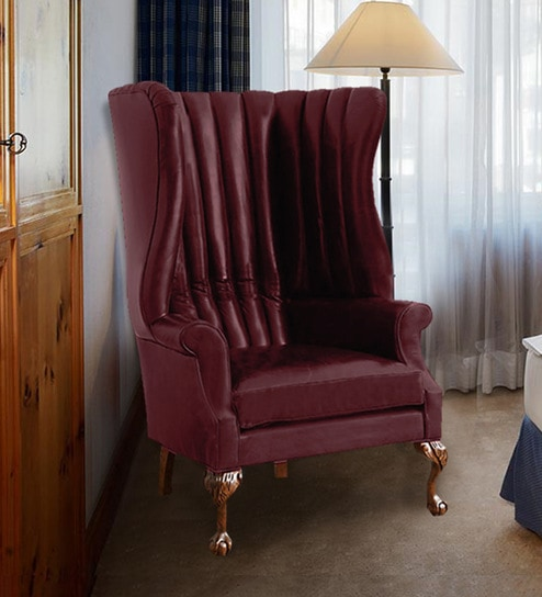 dcor premium wing chair in maroon leatherette by dreamzz furniture