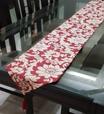 Decorika Pretty Floral Print Red & Beige Cotton Table Runner