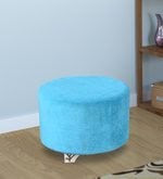 Derby Round Pouffe in Sky Blue Colour
