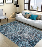 Blue Fine Indian Blended Wool 90 x 63 Inch Hand Tufted Floor Covering Spiral Design Carpet