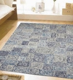 Blue Wool 96 x 60 Inch Hand Tufted in 3D Look Area Rug