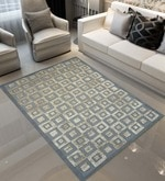 Grey Wool 96 X 60 Inch Striped & Checkered Round Carpet