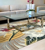 Multicolour Wool & Cotton 54 x 78 Inch Hand Tufted Flower Design Carpet