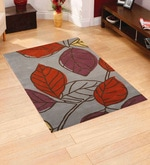 Multicolour Wool 90 x 60 Inch Hand Tuft Leaf Design Area Rug