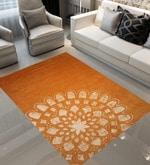 Orange Wool 90 x 60 Inch Hand Tufted Sun Design Area Rug