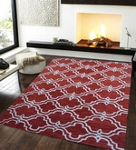 Red Wool & Cotton 60 x 96 Inch Hand Tufted Riviera Carpet