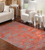 Red Wool & Viscose 60 x 96 Inch Hand Tufted Modern Carpet
