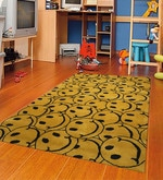 Yellow Fine Indian Blended Wool 96 x 60 Inch Hand Tufted Kids Smiley Carpet