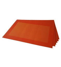 Decorika Dark Orange PVC Placemats - Set Of 6