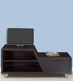 Designer Entertainment Unit In Dark Brown Colour By Karigar
