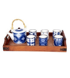 Devnow Tea Mugs & Kettle Blue Porcelain - Set Of 7
