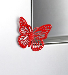Red Metal Decorative Butterfly Fridge Magnet - Set Of 2