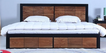 Deux Queen Bed With Storage In Dual Tone Finish