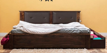 Dewey Queen Size Bed With Storage In Provincial Teak Finish By Woodsworth