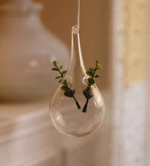 Clear Glass Ceramic Hanging Glass Planter by Decardo