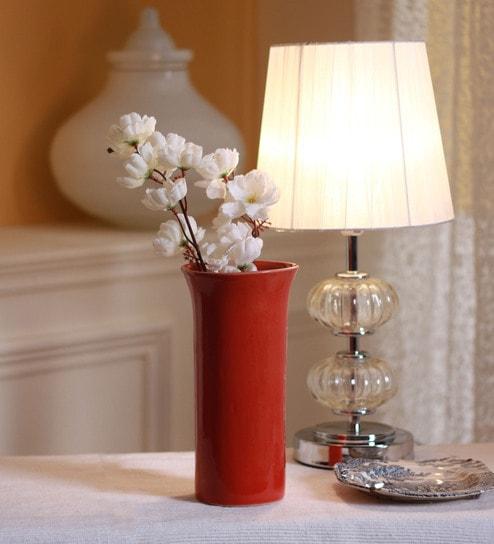 Buy Red Ceramic Red Glazed Flower Vase By Decardo Online Vases