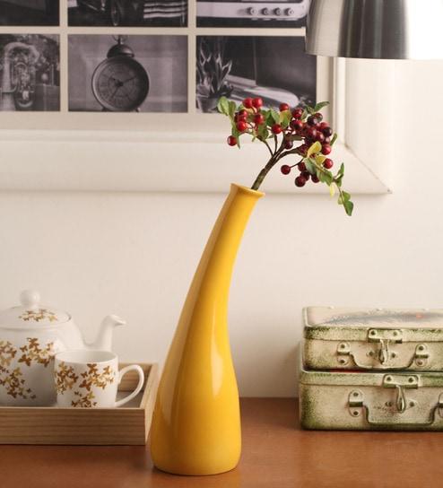Buy Yellow Ceramic Vase By Decardo Online Ceramic Vases Vases