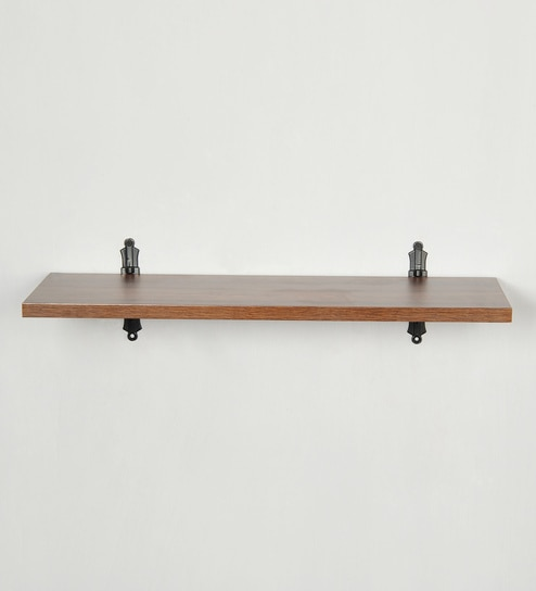 Hand Made Multi Purpose Wall Shelf With Metal Support In Mahogany Black Finish By Deco Home