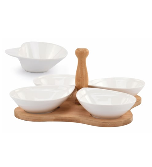 Deco Pride Wood & Ceramic 200 ML Snack Bowls with Tray - Set of 5