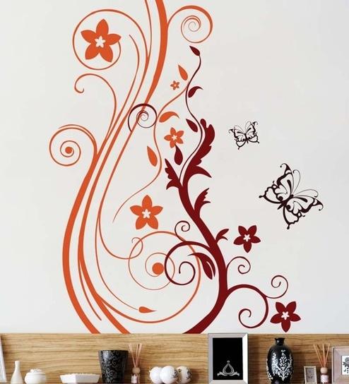 Decor kafe creative floral design vinyl wall sticker decal