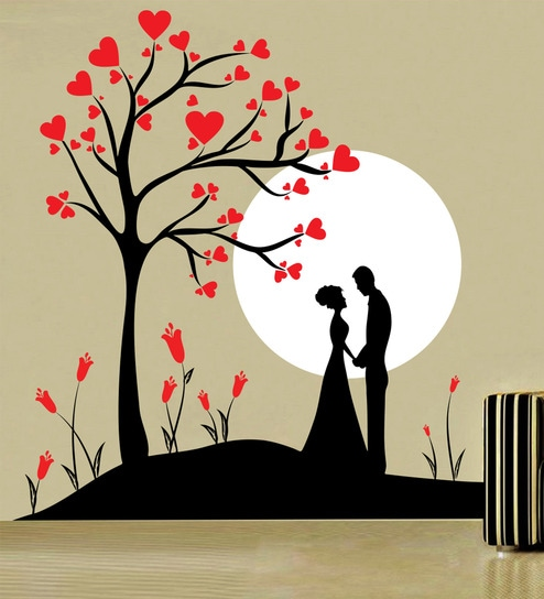 buy decor kafe self adhesive vinyl couple under tree wall decal