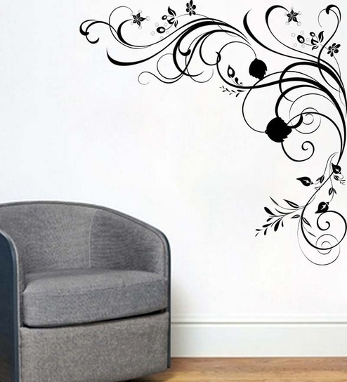 Buy Decor Kafe Swirls Black Vinyl Intricate Design Wall Sticker