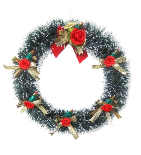 Buy Decorika Green Plastic Christmas Wreath with Decoration Online ...
