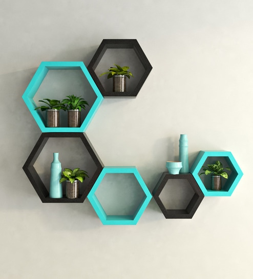 Black & Teal MDF Modern Wall Shelf - Set of 6 by DecorNation