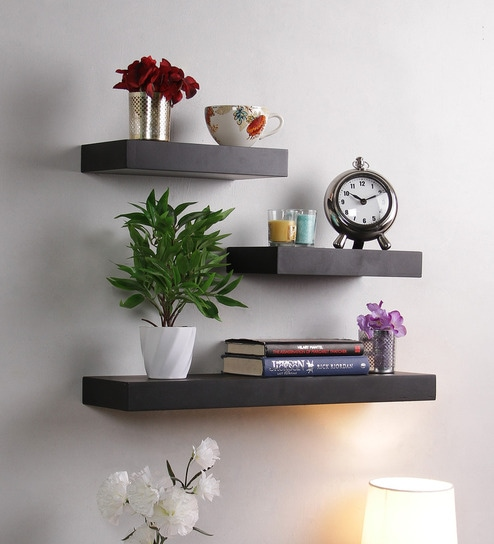 Floating Wall Shelf (Set of 3) in Black Finish by DecorNation & Buy Floating Wall Shelf (Set of 3) in Black Finish by DecorNation ...