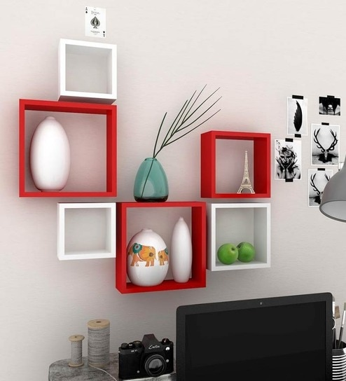 red and white furniture. red u0026 white mdf nesting square easy to clean wall shelf set of 6 by and furniture a