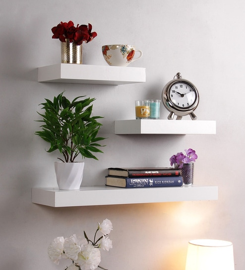 Buy Floating Wall Shelf Set Of 40 In White Finish By DecorNation Gorgeous Where To Buy Floating Wall Shelves
