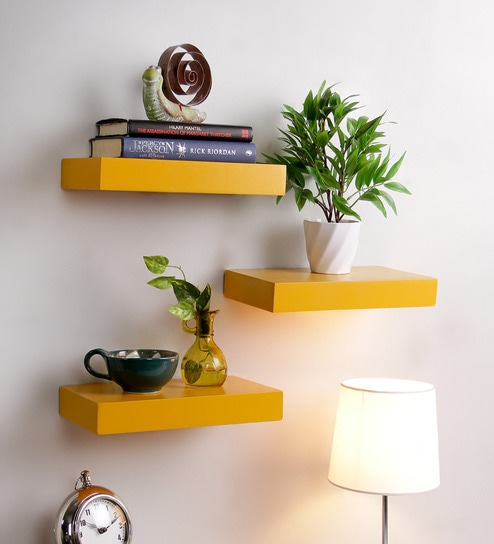 Buy Floating Wall Shelf Set Of 40 In Yellow Finish By DecorNation Magnificent Where To Buy Floating Wall Shelves