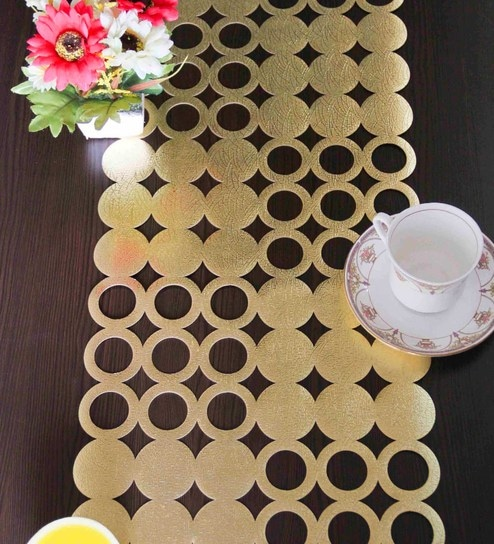 golden synthetic table runner