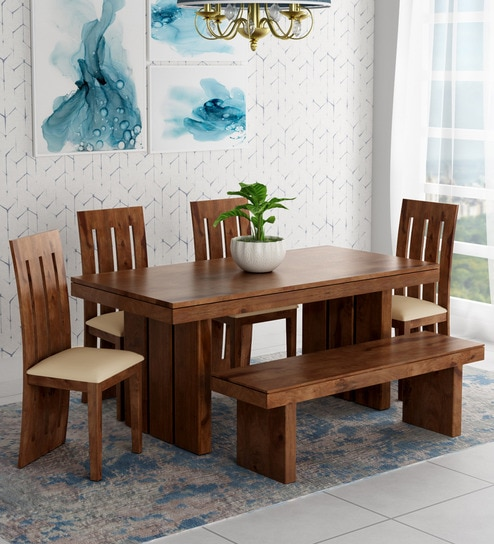 Buy Delmonte Six Seater Dining Set With Bench In Walnut