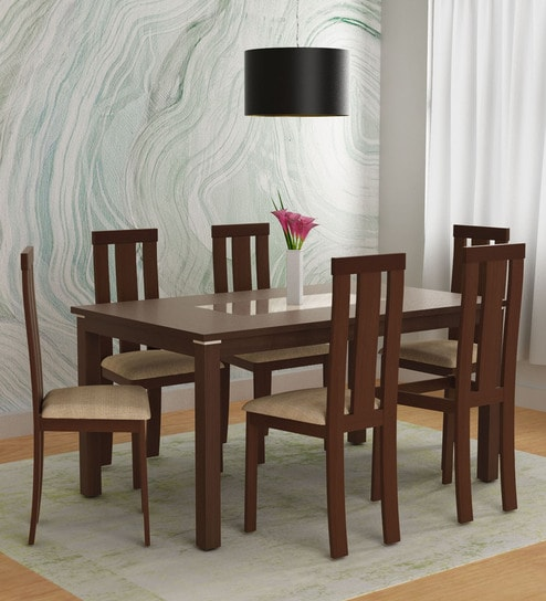 Delton Six Seater Dining Set In Brown Colour By Hometown
